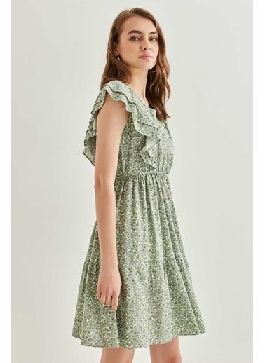 Vitrin Kollar Volanlı Desenli Elbise Yeşil